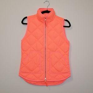 J. Crew Neon Orange Quilted Puffer Vest Size XXS